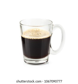 Glass of Black coffee isolated on a white background.