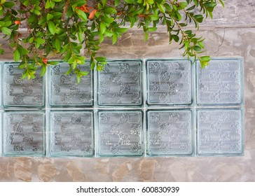 glass block on concrete wall background