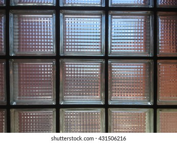 Glass block wall background with lighting from behind