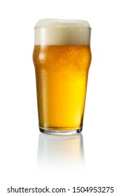 Glass of blonde beer with foam isolated on white background