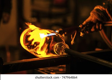 Glass blowing process.
