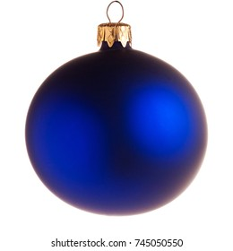 Glass blue Christmas ball isolated on white background