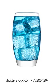 Glass of blue energy carbonated water soda drink with ice on white background