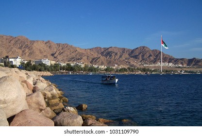 Glass Boat in Aqaba Gulf With the Big Flag in Background