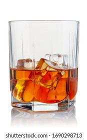 A glass of booze and ice cubes on a white background.