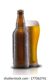 Glass and Bottle of Beer on White Background