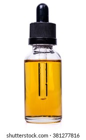 Glass bottle of e-liquid for electronic cigarette.Isolated on white background