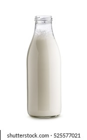 glass bottle full of milk on white background