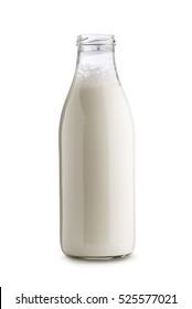 glass bottle full of milk on white background