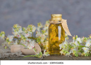 Glass bottle of horse chestnut oil extract. Closeup