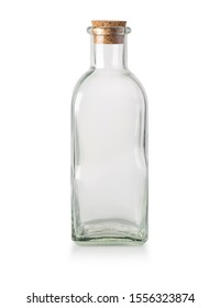 Glass bottle isolated on white with corks, clipping path