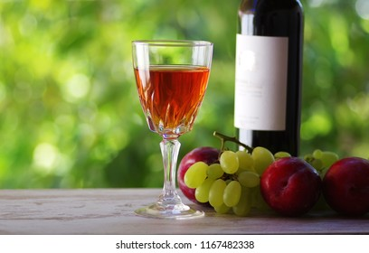 glass and bottle of madeira wine