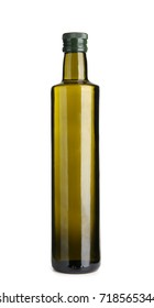 Glass bottle with olive oil isolated on white