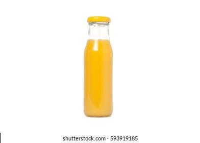 Glass bottle of orange juice. Isolated on white background