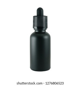 Glass bottle with a pipette 30 ml black matte on a white background