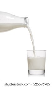 glass bottle pouring milk into a glass on white background