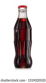 Glass bottle with a red cap and a carbonated beverage inside isolated on white background