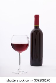 Glass and bottle of red wine. Flat mock up for design unusually on white background.