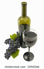 Glass,  bottle of red wine and grapes isolated on a white background
