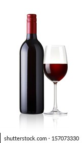 a Glass and a bottle of red wine isolated on white background