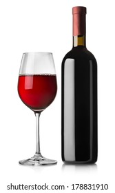 Glass and bottle of red wine isolated on white background