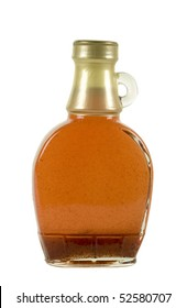 Glass bottle with strawberry/maple syrup; isolated, two clipping paths included