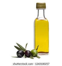 Glass bottle of virgin olive oil and some organic olives
