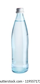 Glass bottle with water on white background
