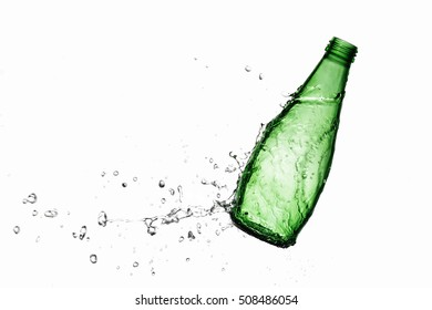 glass bottle and water splash on a white background. isolated
