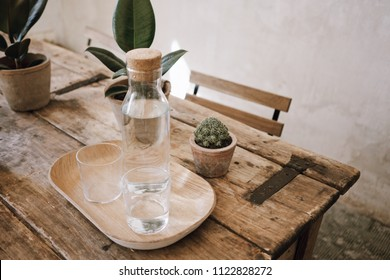 Glass bottle of water with two cups on wooden old vintage table with different small plants, cactus in ceramic pots in stylish loft with white walls and sunlight.