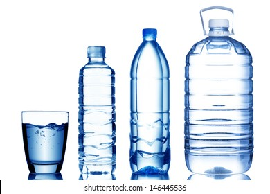 Glass and bottle of water with various size