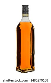 Glass bottle of whisky or brandy, extended shape, isolated on a white background