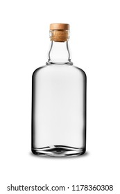 Glass bottle of white alcoholic beverage with cork without label