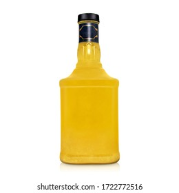 glass bottle of yellow tincture, alcohol isolated on a white background with shadow and reflection