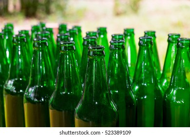 Glass bottles background and textured, The bottles of beer, abstract of unconscious