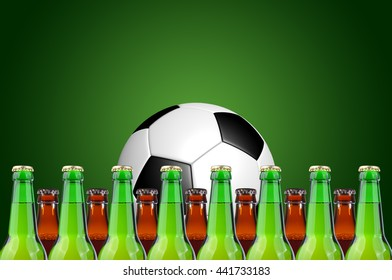 Glass, bottles of beer and soccer ball on a green background