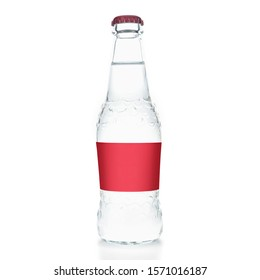 glass bottles with soda juice soda without labels and logos on a white background