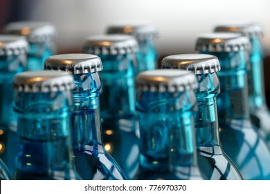 Glass bottles of water on the table
