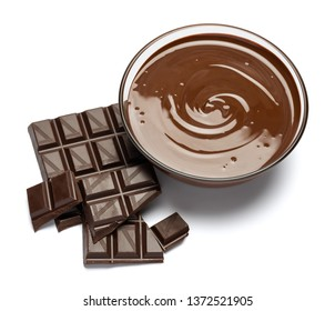 glass bowl of chocolate cream or melted chocolate isolated on white