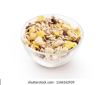 Glass bowl full of cereal musli isolated on white background
