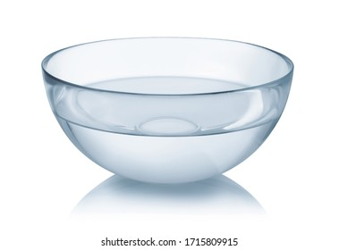 Glass bowl full of clear water isolated on white