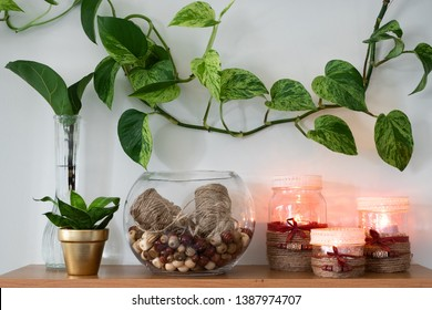 A glass bowl with jute twine and beads in it beside three lit candles glowing with a warm flame. A plant is propagating next to a potted plant, as well as a Pothos plant is vining across the wall.