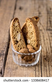 Glass Bowl with Tasty Traditional Italian Sweets Biscotti or Cantucci on Wooden Background Italian Biscotti for Coffee or Wine Italian Snack