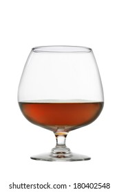 Glass of brandy cutout, isolated on white background