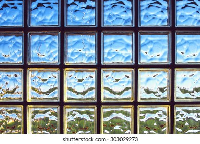 Glass brick wall texture background