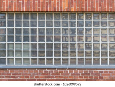 Glass bricks with red bricks