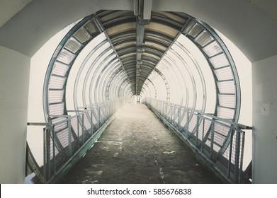 Glass bridge over highway