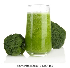 Glass of broccoli juice, isolated on white