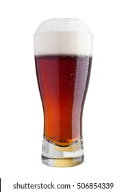 Glass of brown ale beer with foam isolated on white background