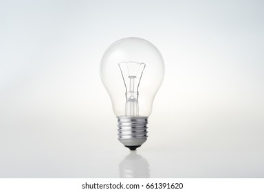 Glass bulb on a white background. Place for the text.